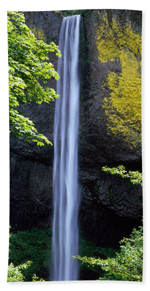 Photography Hand Towel featuring the photograph Waterfall In A Forest, Latourell Falls by Panoramic Images
