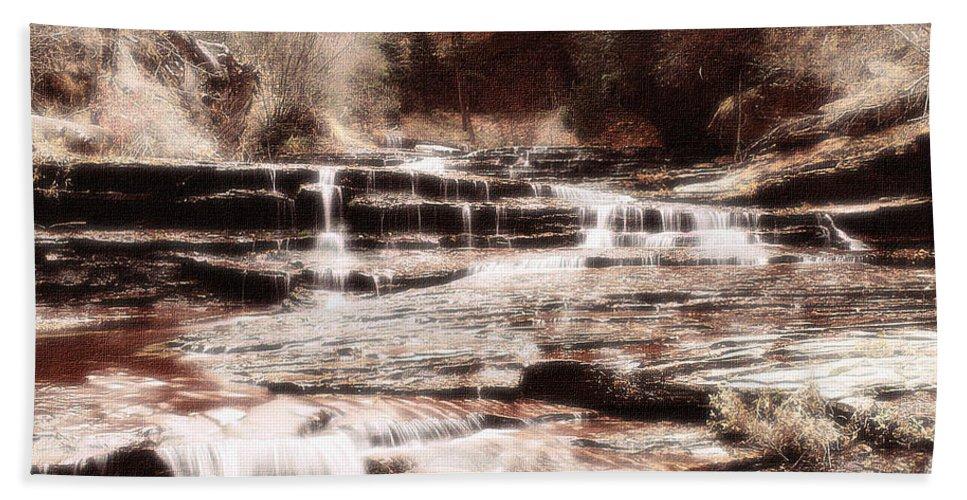 Waterfall Bath Sheet featuring the digital art Waterfall In Sepia by Lyriel Lyra