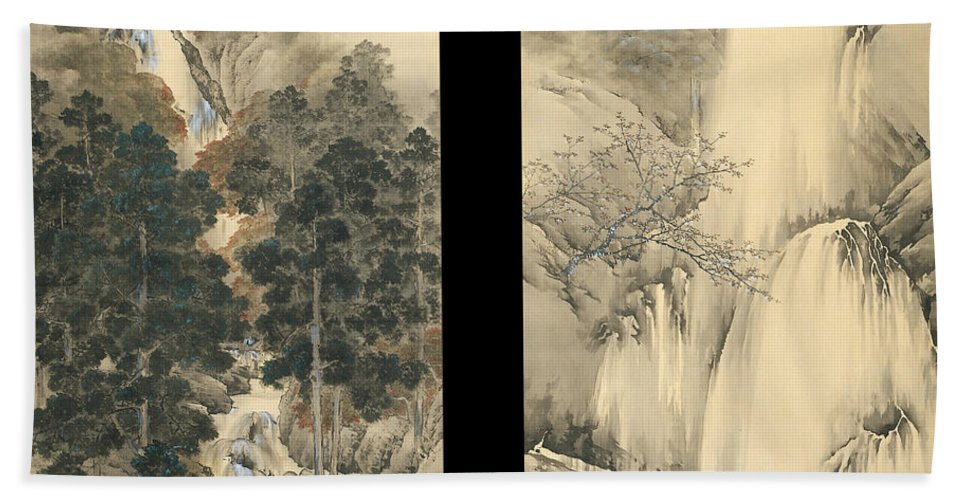 Kishi Chikudo Hand Towel featuring the painting Waterfall In Spring And Autumn by Kishi Chikudo
