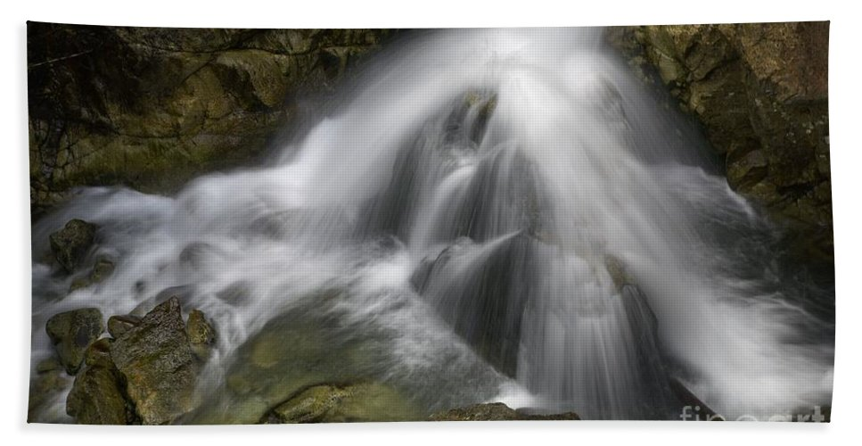 Blaminsky Hand Towel featuring the photograph Waterfall In The Rocks by Jaroslaw Blaminsky