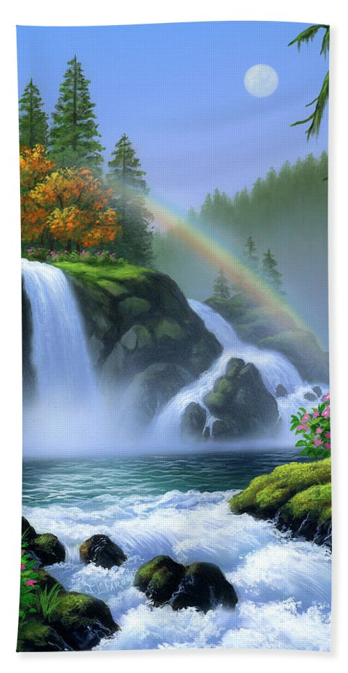 Waterfall Hand Towel featuring the painting Waterfall by Jerry LoFaro