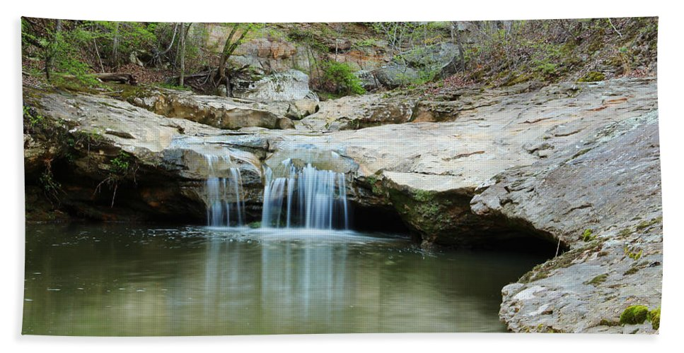 Waterfall Hand Towel featuring the photograph Waterfall On Piney Creek by Greg Matchick