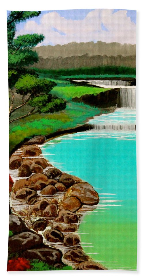 Waterfalls Hand Towel featuring the painting Waterfalls by Cyril Maza