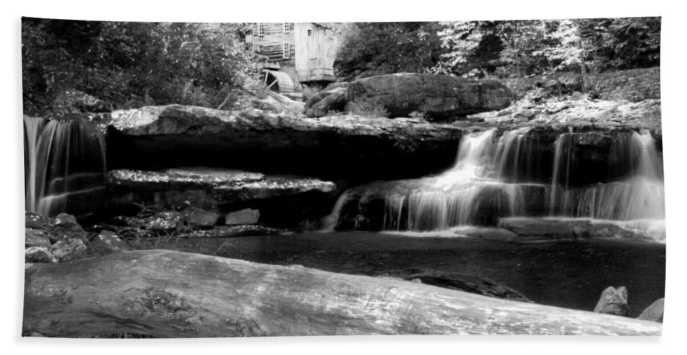 Glade Creek Grist Mill Hand Towel featuring the photograph Waterfalls Mill Black N White by Randall Branham