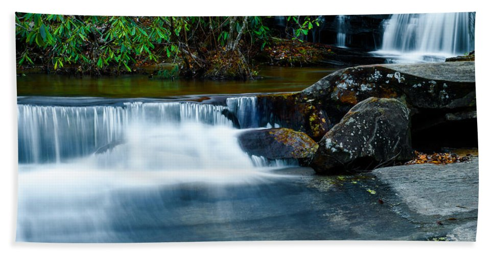Optical Playground By Mp Ray Hand Towel featuring the photograph Waterfalls Of Carreck Creek by Optical Playground By MP Ray