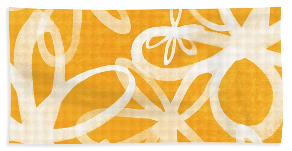 Large Abstract Floral Painting Bath Towel featuring the painting Waterflowers- Orange And White by Linda Woods
