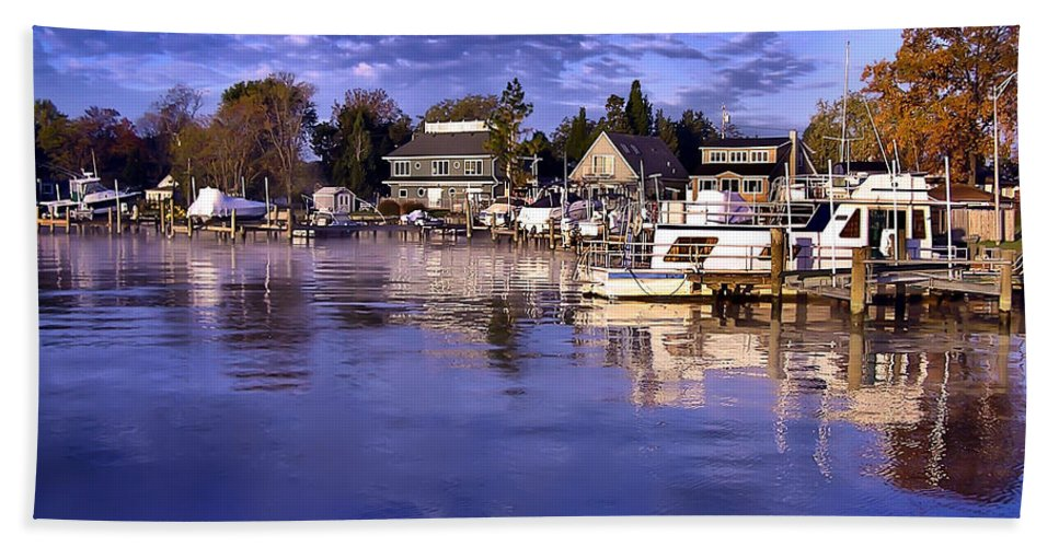 2d Bath Sheet featuring the photograph Waterfront Morning by Brian Wallace