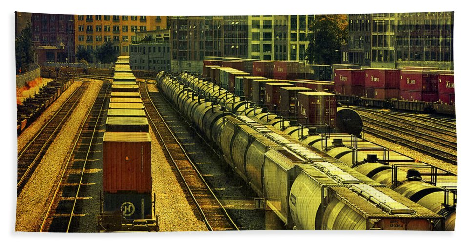 Railway Bath Sheet featuring the photograph Waterfront Rail Yard by Claude LeTien