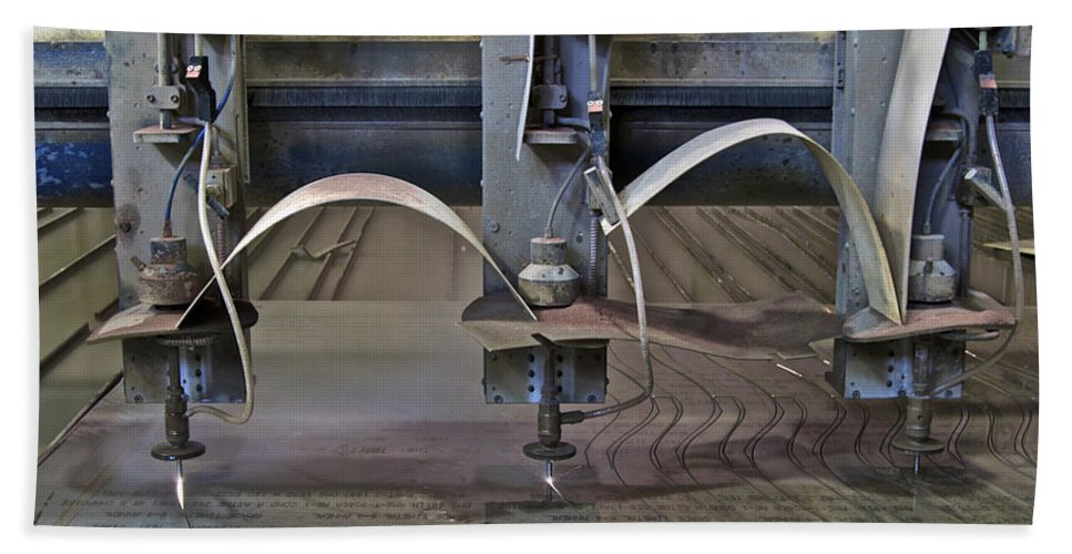 Bath Sheet featuring the photograph Waterjet Cutter by Michael Peychich