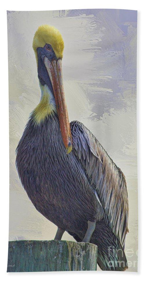 Pelican Bath Towel featuring the photograph Waterway Pelican by Deborah Benoit