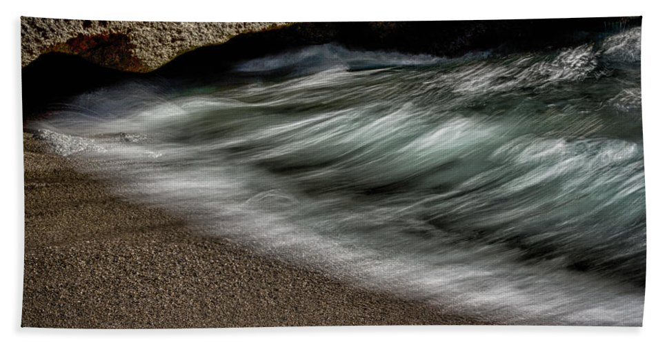 Wave Hand Towel featuring the photograph Wave Action by Robert Woodward