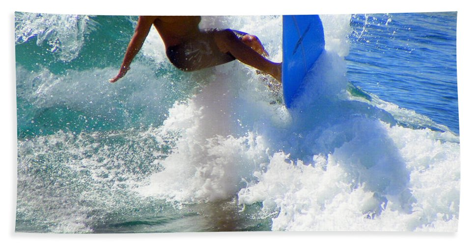 Surfers Hand Towel featuring the photograph Wave Rider by Karen Wiles