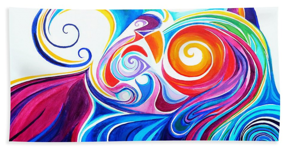 Spiraling Stylized Crayola Colored Rolling Waves Hand Towel featuring the painting Wave Set by Expressionistart studio Priscilla Batzell