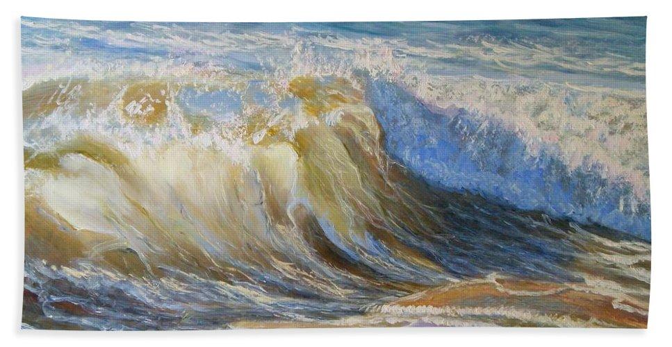 Wave Bath Sheet featuring the painting Wave2 by Elena Sokolova