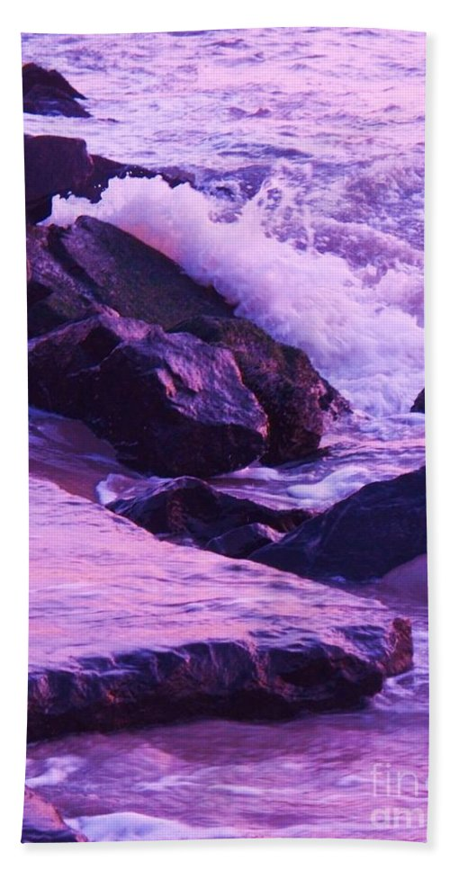 Wave Hand Towel featuring the photograph Waves Breaking On Jetties by Eric Schiabor