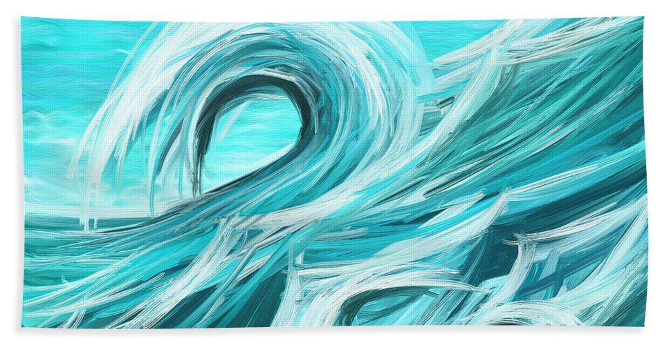 waves collision abstract wave paintings hand towel for sale by