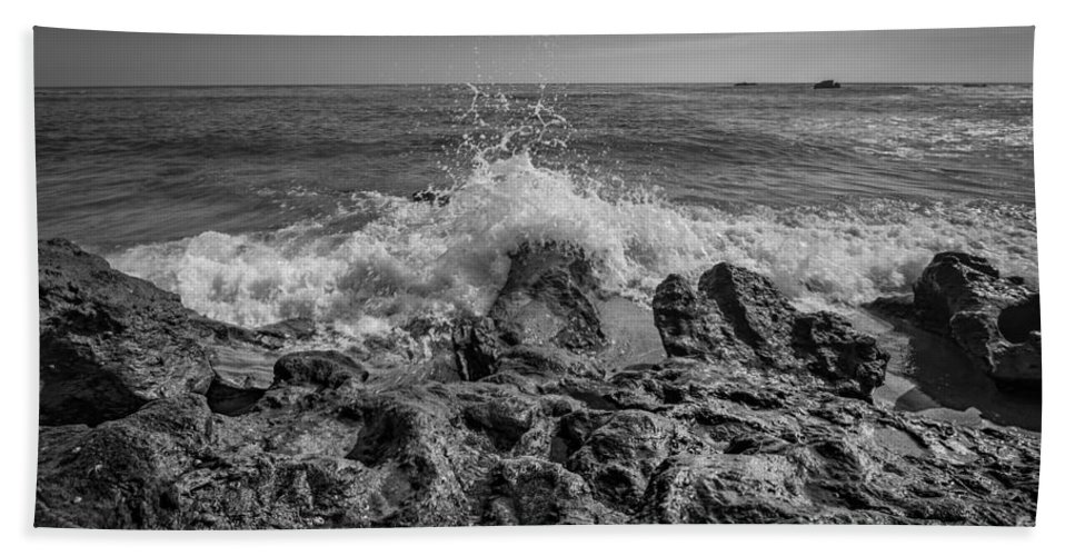 Rushing Water Hand Towel featuring the photograph Waves Crashing Bw by Michael Ver Sprill