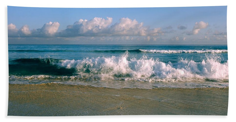Photography Hand Towel featuring the photograph Waves Crashing On The Beach, Varadero by Panoramic Images
