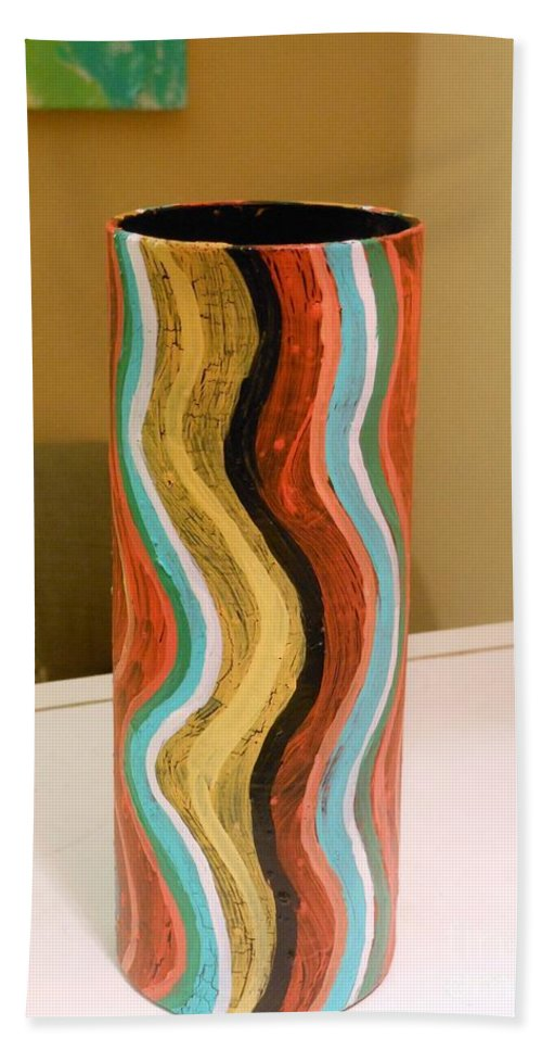 Rainbow Hand Towel featuring the painting Wavy Vase by Genevieve Esson