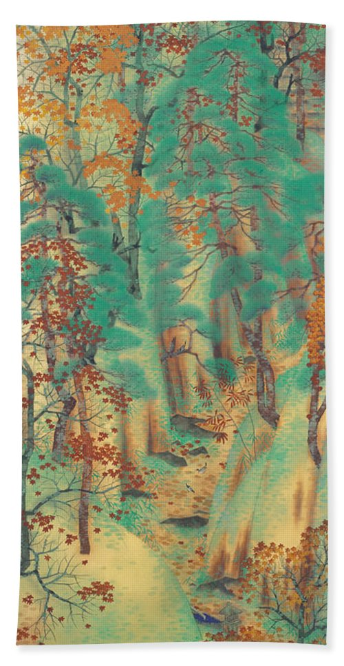 Yokoyama Taikan Hand Towel featuring the painting Way To Atago by Yokoyama Taikan