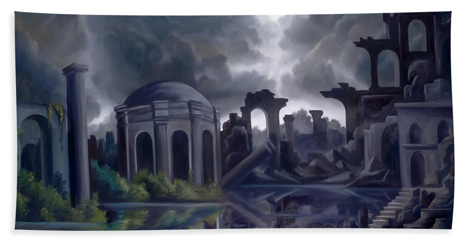 Ruins Bath Sheet featuring the painting We Lost Our Empire A Long Time Ago by James Christopher Hill