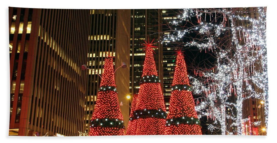 Christmas Trees New York City Night View Bath Sheet featuring the photograph We Three Trees by Alice Gipson