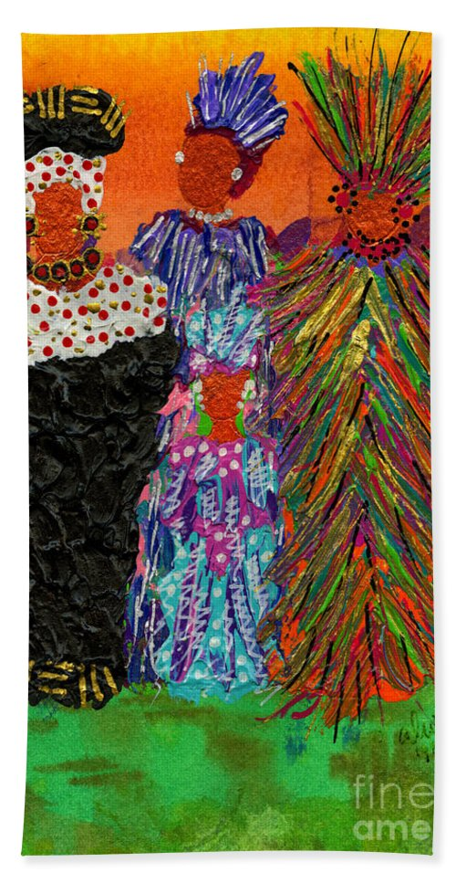 Women Hand Towel featuring the painting We Women Folk by Angela L Walker