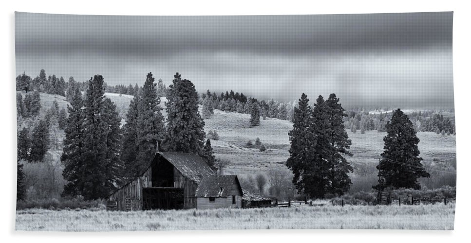 Barn Hand Towel featuring the photograph Weathered Beneath The Storm by Mike Dawson