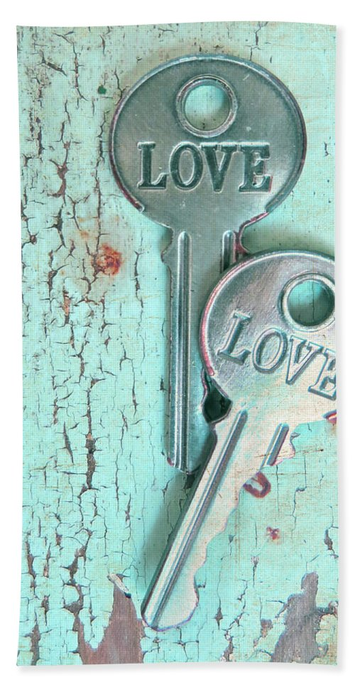 Old Keys Hand Towel featuring the photograph Weathered Love by Angie Mahoney