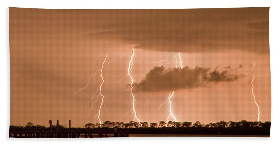 Weaver Park Bath Sheet featuring the photograph Weaver Park Lightning by Stephen Whalen