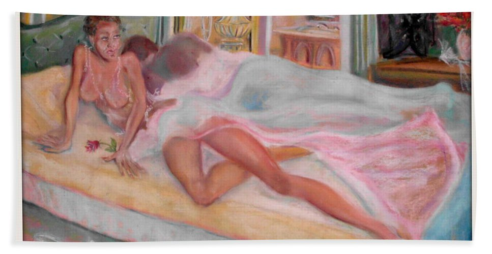 More Art By K.o.simms Bath Sheet featuring the pastel Wedding Night by Keith OBrien Simms
