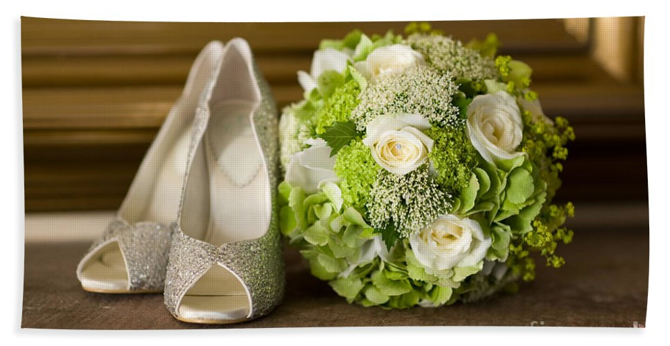 Wedding Hand Towel featuring the photograph Wedding Shoes And Flowers Bouquet by Lee Avison