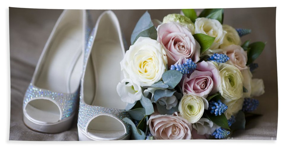 Bouquet Hand Towel featuring the photograph Wedding Shoes And Flowers by Lee Avison