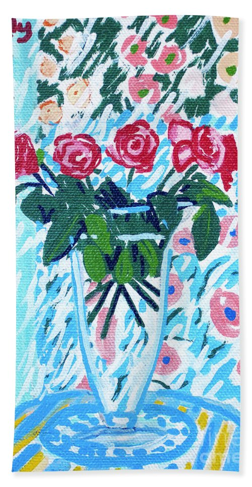 Roses Bath Sheet featuring the painting Weekend Roses by Candace Lovely