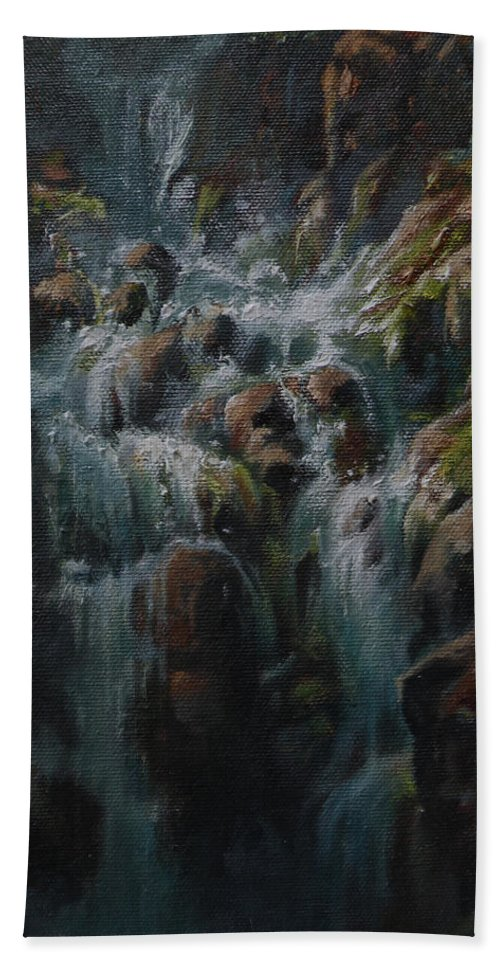 Glacier National Park Hand Towel featuring the painting Weeping Rocks by Mia DeLode