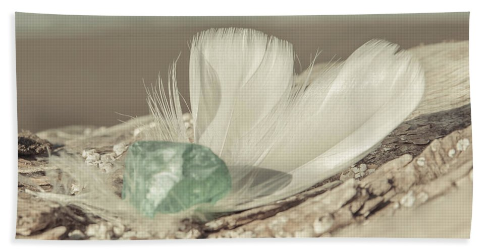 Sea Glass Feathers Photography Print Bath Towel featuring the photograph Weighted Feathers by Lucid Mood