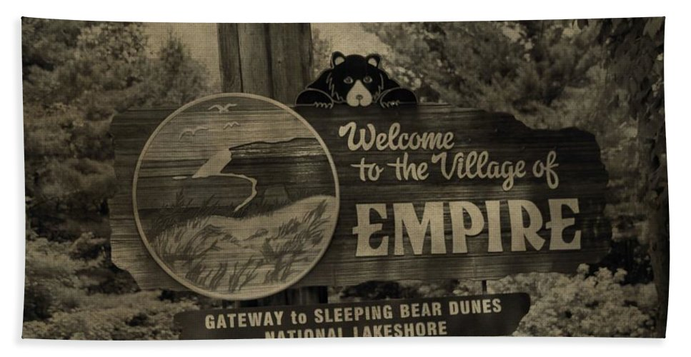 Welcome To Empire Michigan Bath Sheet featuring the photograph Welcome To Empire Michigan by Dan Sproul
