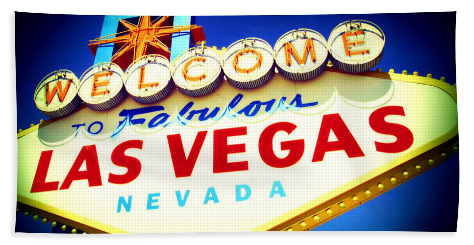 Las Vegas Sign Hand Towel featuring the mixed media Welcome To Fabulous Las Vegas by Michelle Dallocchio