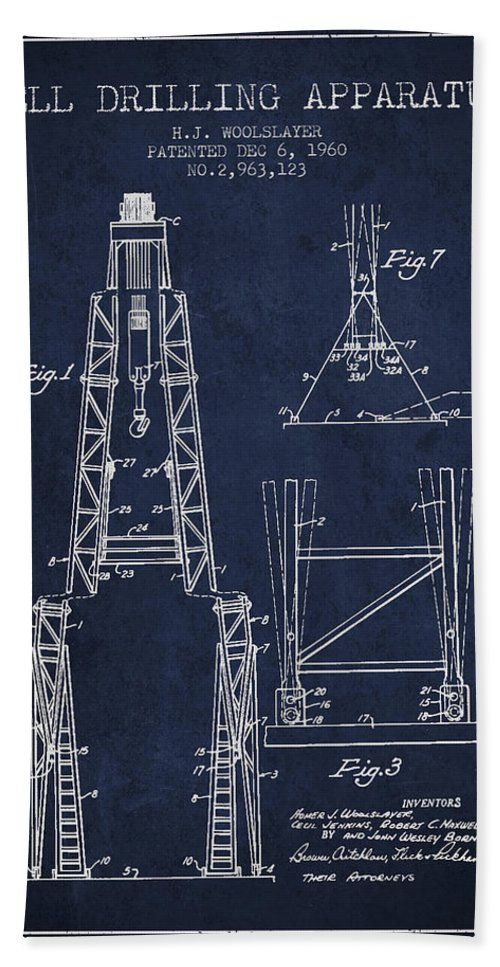 Oil Bath Sheet featuring the digital art Well Drilling Apparatus Patent From 1960 - Navy Blue by Aged Pixel