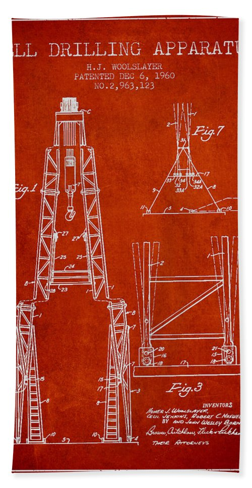 Oil Bath Sheet featuring the digital art Well Drilling Apparatus Patent From 1960 - Red by Aged Pixel