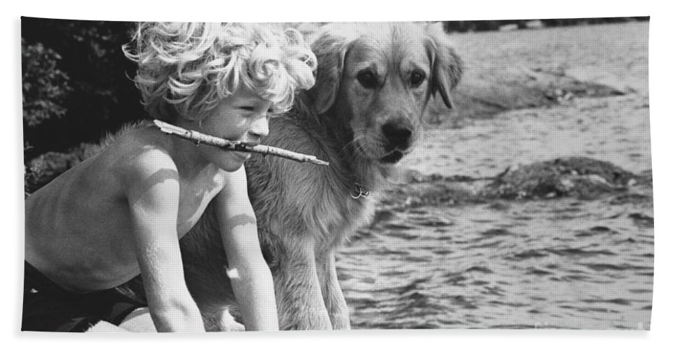 Boy Hand Towel featuring the photograph Well Trained Boy by FW Binzen