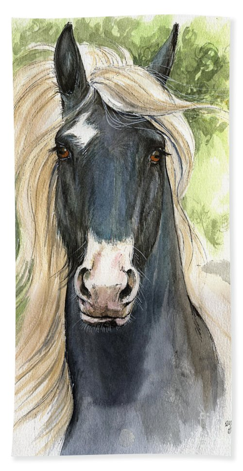 Horse Hand Towel featuring the painting Welsh Cob by Angel Ciesniarska