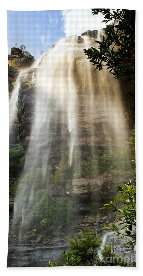 Australia Bath Sheet featuring the photograph Wentworth Waterfall Blue Mountains by Tim Hester