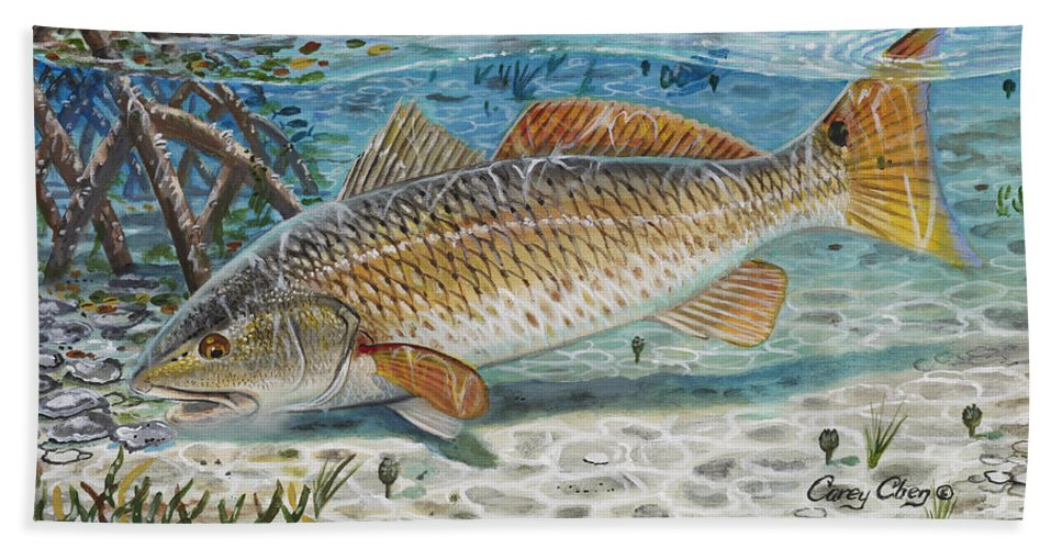 Redfish Bath Sheet featuring the painting West Coast Red by Carey Chen