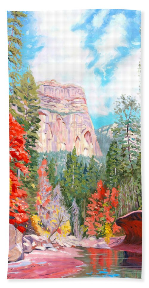 Sedona Hand Towel featuring the painting West Fork - Sedona by Steve Simon
