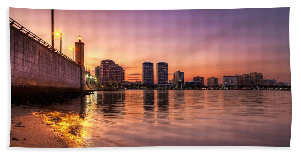 Clouds Hand Towel featuring the photograph West Palm Beach Skyline At Dusk by Debra and Dave Vanderlaan
