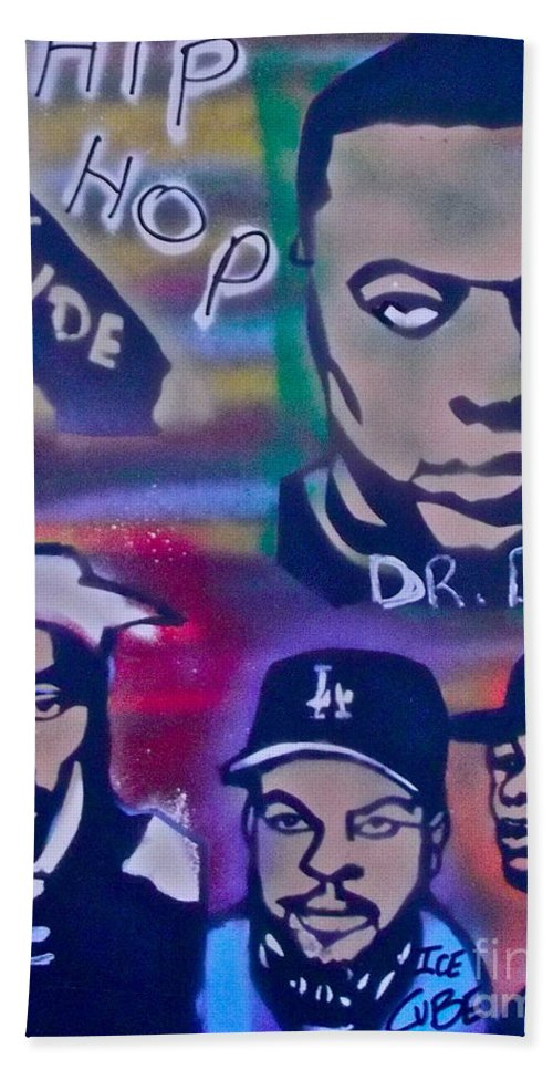 Hip Hop Hand Towel featuring the painting West Side Hip Hop by Tony B Conscious