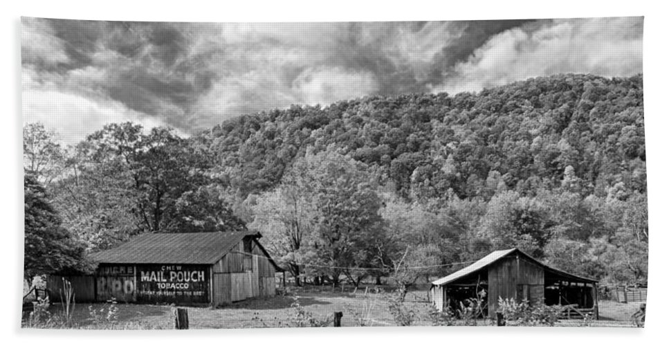 West Virginia Bath Sheet featuring the photograph West Virginia Barns Monochrome by Steve Harrington