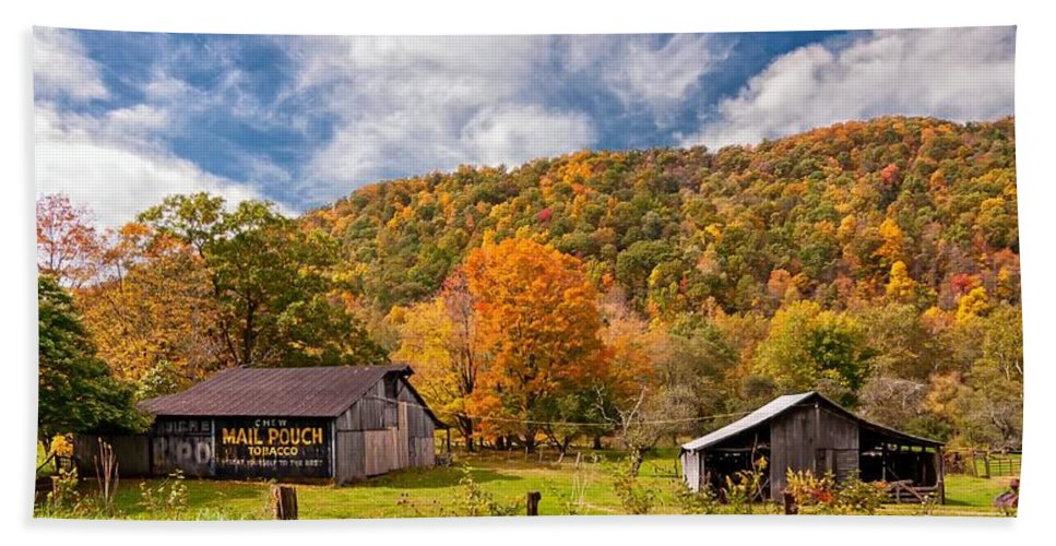 West Virginia Bath Sheet featuring the photograph West Virginia Barns by Steve Harrington
