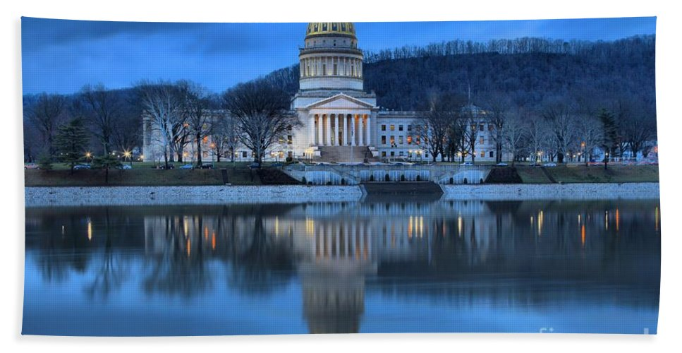 West Virginia Capitol Bath Sheet featuring the photograph West Virginia Capitol Building by Adam Jewell